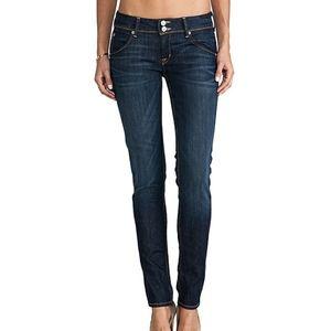 Hudson Collin Skinny Jeans Dark Wash Whiskering 30